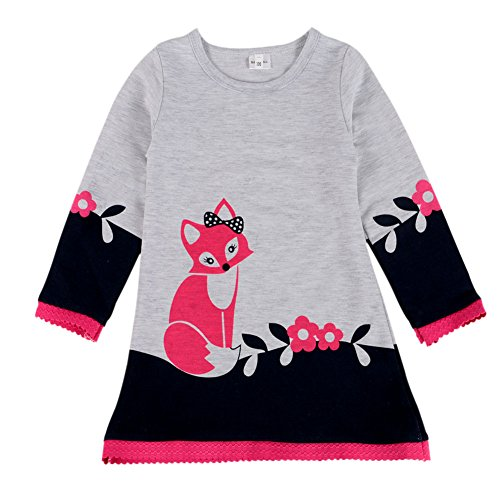 BOBORA Kid Girls Long Sleeve Round Collar Cartoon Fox Dress Toddler Baby Clothes