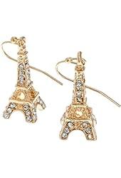 PammyJ Clear Crystal Eiffel Tower Goldtone Drop Earrings