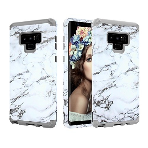 Galaxy Note 9 Case, UZER Marble Series Shockproof 3 in 1 Soft Interior Silicone Bumper&Hard Shell PC Back Cover Bumper Anti-Scratch Full-Body Protective Case for Galaxy Note 9 6.4