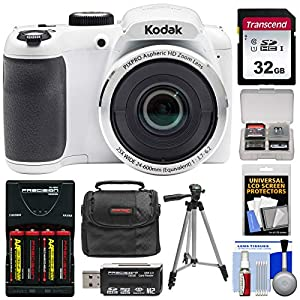KODAK PIXPRO AZ252 Astro Zoom Digital Camera (White) with 32GB Card + Batteries & Charger + Case + Tripod + Kit