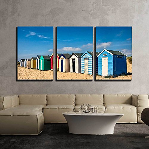 Row of Beach Huts on the Sand at Southwold x3 Panels