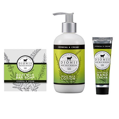 "Dionis Goat Milk Skincare 3-Piece ""Verbena & Cream"" Gift Set – Bar Soap, Body Lotion and Hand Cream"