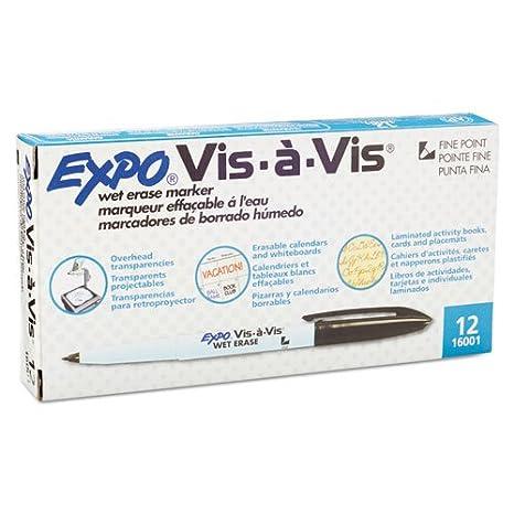 Expo Vis-a-Vis Wet-Erase Marker, Fine Point, Black Ink, Dozen (SAN16001)