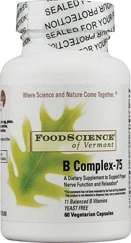 B-complex Science Food Vitamins (FoodScience of Vermont B Complex-75 -- 60 Vegetarian Capsules - 3PC)