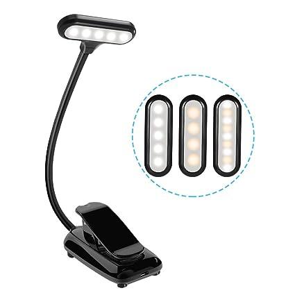 Leselampe LED Buchlampe USB Wiederaufladbar, Karrong Leseleuchte Klemme Buch Licht Klemmleuchte mit 9 LED, 3 Modi Dimmbar Hel