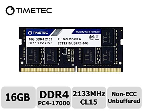 Timetec Hynix IC 16GB DDR4 2133MHz PC4-17000 Unbuffered Non-ECC 1.2V CL15 2Rx8 Dual Rank 204 Pin SODIMM Laptop Notebook Computer Memory RAM Module Upgrade (16GB) ()