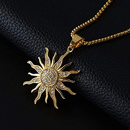 Men Hip Hop Ice Out Chain Rhinestone Sun Flower Pendant Necklace Stainless Steel Rope Chain Party Jewelry Gift