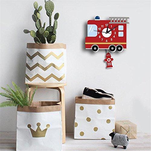Shuangklei Cartoon Animal Wall Clock Fire Engine Slient Wall Hanging Clock for Children Kids Bedroom Decor Home Decoration