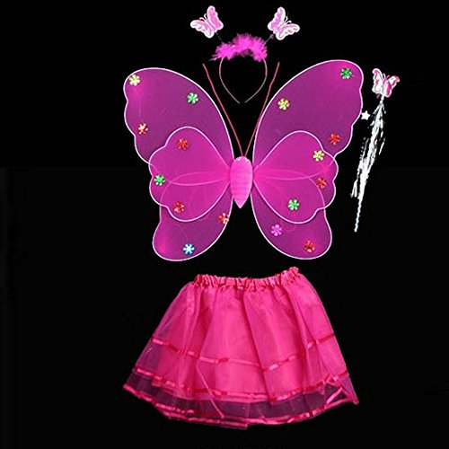 Tinkerbell Costume Adults Diy (2015 Fashion 4 Pcs Wings Wand for Baby Girls Dress up Party Favor Toy Activity Roleplay Sets Rose Red)