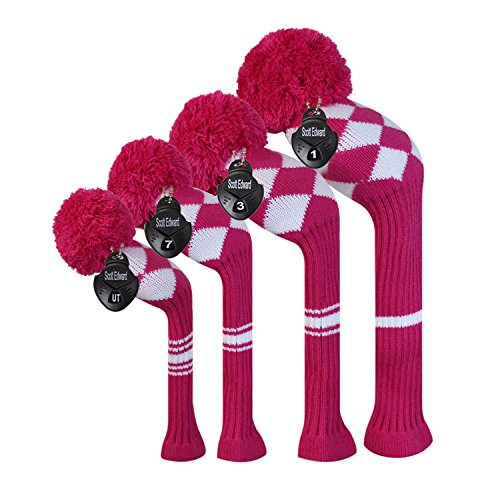 Scott Edward Rose White Argyles Golf Club Head Covers, Acrylic Yarn Double-Layers Knitted, Set of 4, with Rotatable Number Tags