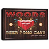 scqr1-1107 WOODS Beer Pong Cave Bar Game Stretched Canvas Print Sign