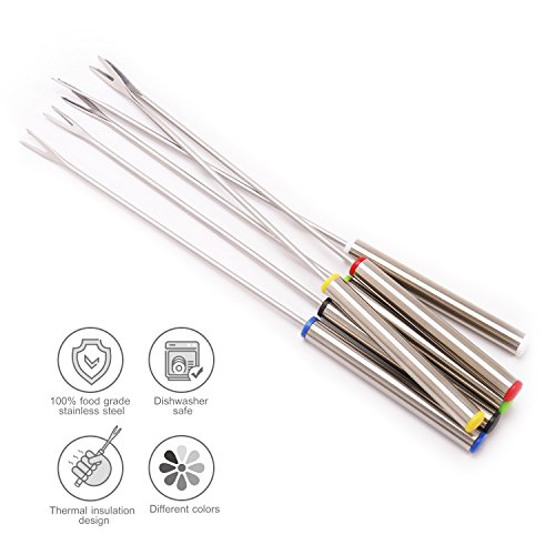 Oneup Heat Resistant Handle Fondue Forks for Chocolate Fountain Fondue Cheese Roast Marshmallows 18 Pcs Stainless Steel Fondue Forks