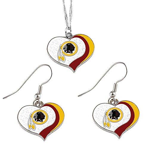 (aminco Washington Redskins Sports Team Logo Glitter Heart Necklace and Earring Set)