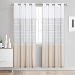 "NICETOWN Normcore Linen Look Semi Sheer Curtains, Grommet Striped Pattern Privacy with Light Filter Draperies for Bedroom/Kids Room, Light Grey & Taupe, 50"" Wide by 72"" Long, 1 Pair"