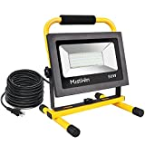 MustWin Work Light LED 50W 4000LM, 16.4ft/5M Cord with Plug Flood Light, Waterproof IP65, 400W Equivalent, Daylight White Outdoor Working Lamp with Stand for Workshop, Gardens, Garage, Basement