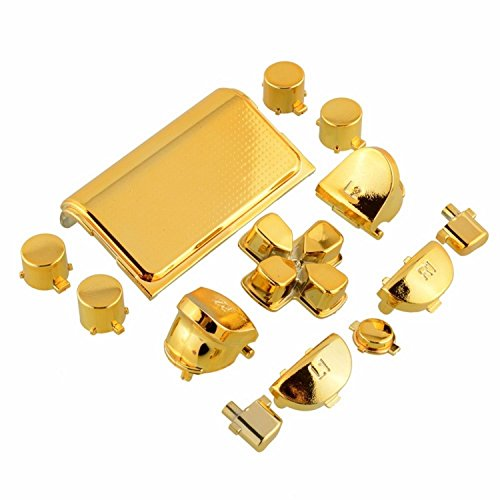 Full Buttons Mod Kits Chrome Gold Plating L1 L2 R1 R2 Replacement Full Trigger Buttons Kit For Sony Playstation 4 Ps4 Controller 4 (with 2 pcs Springs)