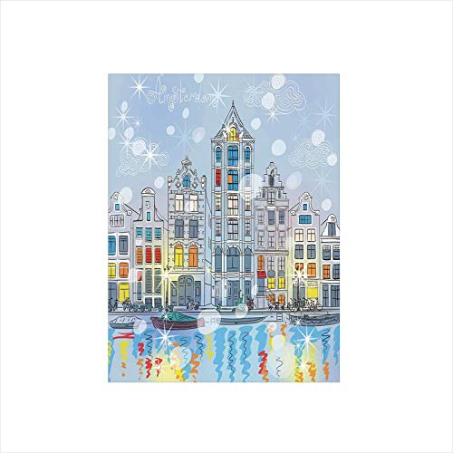 Decorative Privacy Window Film/Noel Time at Amsterdam Canal with Historical Famous Buildings North Europe Design/No-Glue Self Static Cling for Home Bedroom Bathroom Kitchen Office Decor Multicolor