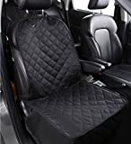 HCMAX Pet Car Front Seat Cover 600D Heavy Duty WaterProof Nonslip Rubber Backing with Anchors Durable Dog Seat Covers for Cars Trucks SUVs Black
