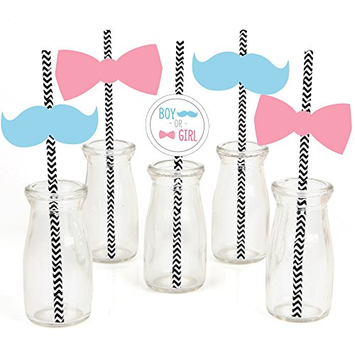 Baby Gender Reveal Paper Straw Decor - Baby Shower Striped Decorative Straws - Set of (Party Decor Ideas)