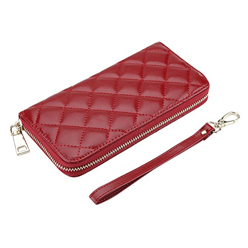 Rnker Multi-purpose Genuine Leather Women Wallets, Clutch Wallet, Wristlet, Handbags Wallet, Cellphone Case Fit for Iphone, Galaxy and All Cellphones