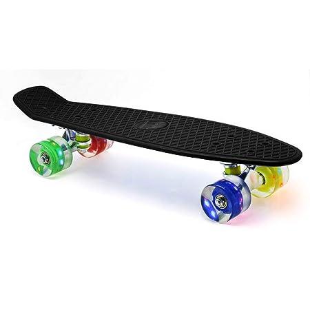 Merkapa 22' Complete Skateboard with Colorful LED Light Up Wheels for Beginners (Black)