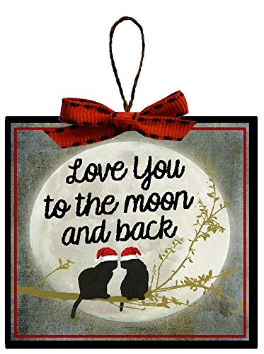 Christmas Decoration Funny Cat Love You To The Moon and Back Christmas Tree (Ornament Magnet)
