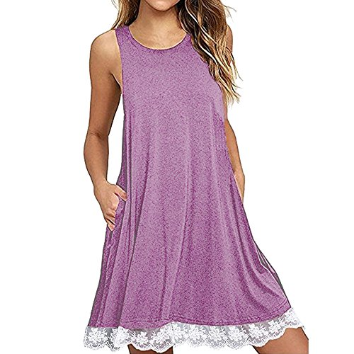 Sumeimiya Lace Dress for Women, Ladies Solid Sleeveless O Neck Dress Casual Loose Dress with Pocket Purple -