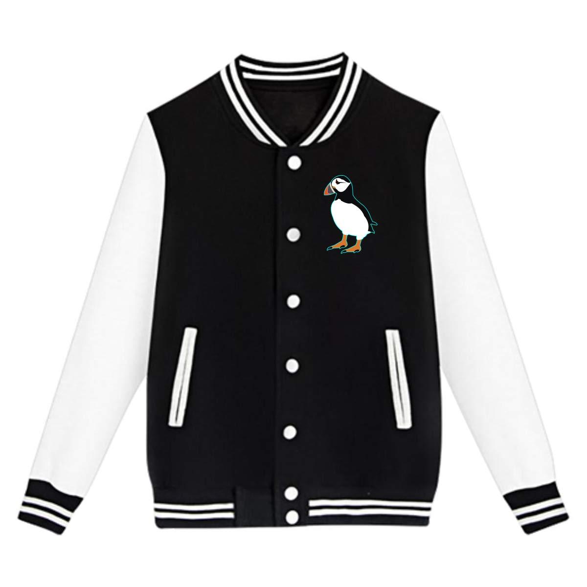 Tina TN Puffin Bird Teens Boys Girl Varsity Baseball Jacket Long Sleeve Sport Baseball Uniform Jacket Coat Sweater Black
