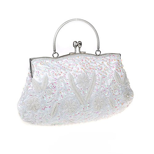 amp;Jane Colors Beaded White Handbag Harson 11 Vintage Evening Soft Premium Bag Sequin Clutch Available Seed dxqIw76q