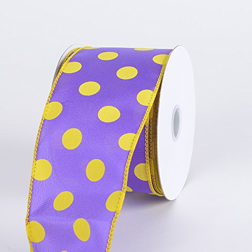 (Fuzzy Fabric 2-1/2 inch x 10 Yards Purple with Yellow Dots Satin Polka Dot Ribbon Wired)