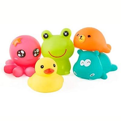 Ndier Conjunto de Juguetes para baño de bebé Squirts Bath Toys Hacen Sonido Spray de Agua para niños Pool Baño Flotante Juguetes de 5 Piezas: Juguetes y juegos