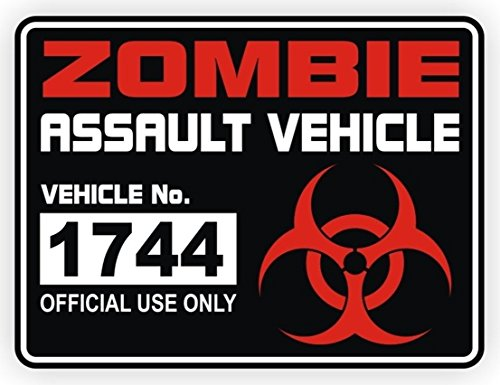 1 Pcs First-class Popular Zombie Assault Vehicle Car Sticker Sign Radioactive Atomic Nuclear Decals Windows Decor Size 3