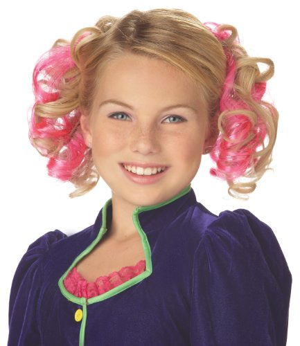 Blonde Curly Hair Costumes (Blonde and Pink Curly Clips Wig)