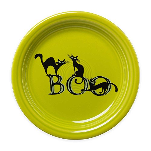 (Brilliant Glaze Fiestaware Halloween Trio of Boo Cats Appetizer Plate in Green)