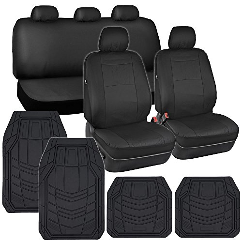 Car Seat Covers Black PU Leather w/ Heavy Duty Rubber Floor Mats for Auto