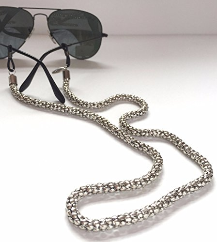 Sintillia Silver Glow Chain Sunglass Strap, Glasses Chain, Eyeglass Cord, Skinny (6mm) with Clear Attachments by Sintillia