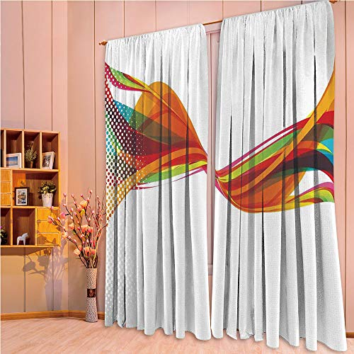 ZHICASSIESOPHIER Bedroom/Living Room/Kids/Youth Room Curtain Panels, 2 Panel,Smoke Like Image with Pixel Style Detailed Work 84Wx63L Inch -