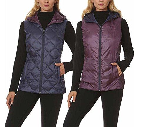 Gerry Womens Reversible Hooded Vest, Blue/Purple, Medium