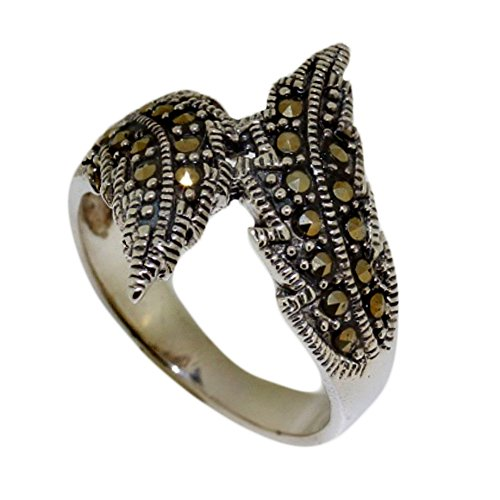 Leaf Twist Marcasite 925 Sterling Silver Ring (7.5)