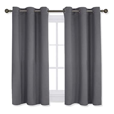NICETOWN Bedroom Curtains Blackout Drapery Panels, Three Pass Microfiber Thermal Insulated Solid Ring Top Blackout Window Curtains/Drapes (Two Panels,42 x 54 Inch,Gray)
