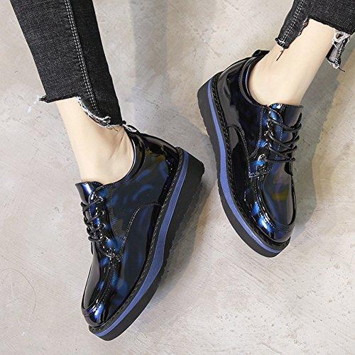 T-juli Kvinna Mode Oxfords Skor - Bekväma Spets-up Tjock Sula Glansiga Rund Tå Retro Skor Blå
