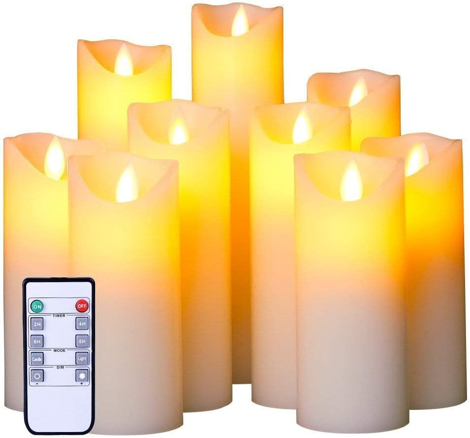 Flameless LED Candles Set of 9 Real Wax Candles 10-Key Remote Control with Timer Function 300+ Hours by 2 AA Batteries Waterproof Outdoor Indoor Candles for Gift, Wedding, Votive, Yoga and Deco
