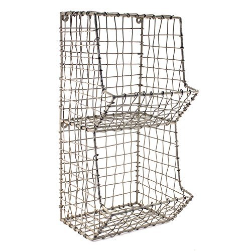 Colonial Tin Works Mini Rustic Wire General Store Wall Bin,Gray,7½