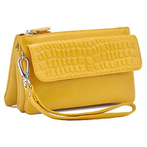 Clutch Purse Crossbody Cowhide Yellow Women��s Bag Leather SEALINF Handbag Bag Shoulder nxA0wzY6q