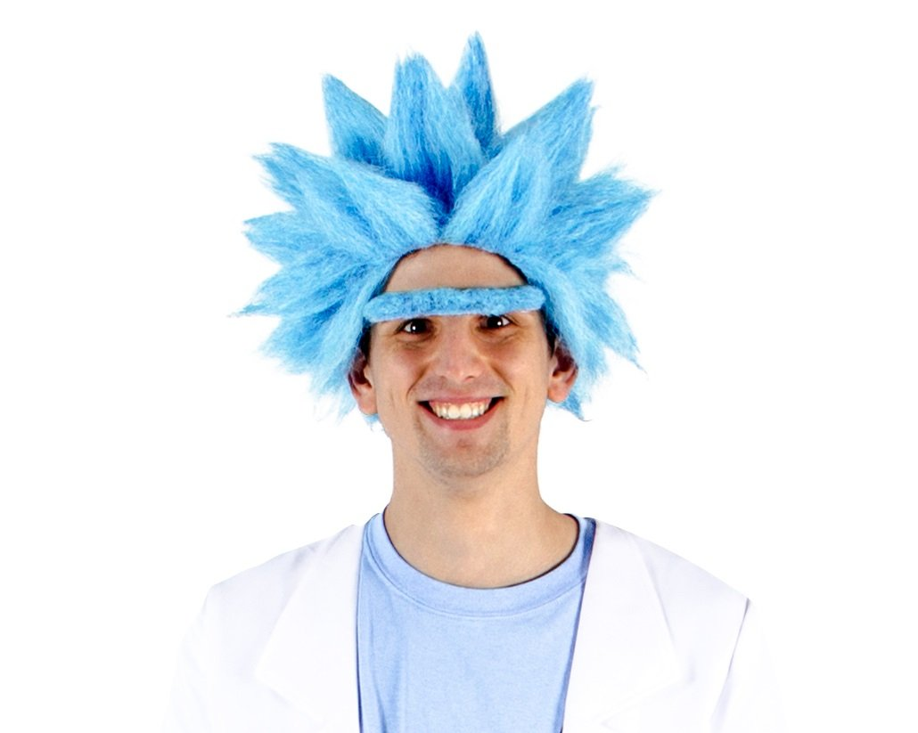 Adult Deluxe Ricky Sanchez Blue Wig and Eyebrow Costume Cosplay Accessory 1170-RSWigEyebrown