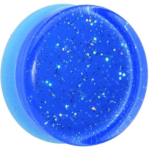 Body Candy Blue Neon Acrylic Glitter Saddle Ear Gauge Plug (1 Piece) 24mm