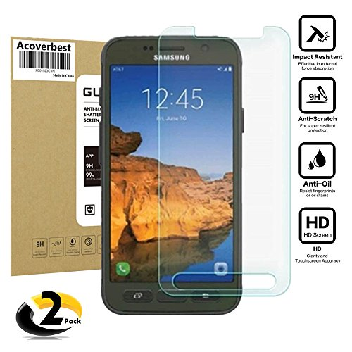Galaxy S7 Active (Not for Galaxy S7) Screen Protector (2-Pack) Screen Protector,Acoverbest Ultra Thin Protective Glass [Ultra-Clear] [Scratch Proof] [Anti-Fingerprint] for Galaxy S7 Active (G891)