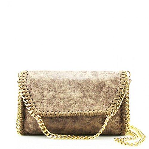 LeahWard? Women's Chain Trim Bags Faux Leather Cross Body Bags For Women Party Handbags CW932 Khaki G