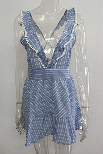 a74332e021c61 ... Rüschen Elegant Kurz Kleid Gestreift Damen Linie Geschenke Rückenfrei  Sommerkleid Strandkleider A Frauen Blau Modisch Freizeitkleider ...