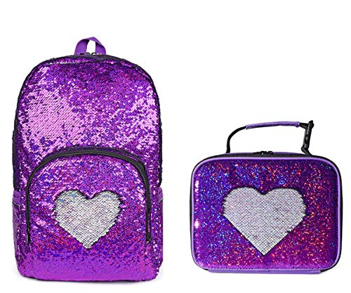 Girls Magic Flip Reversible Sequin School Backpack Color Chnages Sparkly Sequence Sequin Bag Insulated Lucn Bag Box Tote, 17
